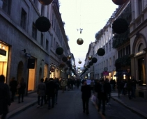 The luxurious shops in down town Milan